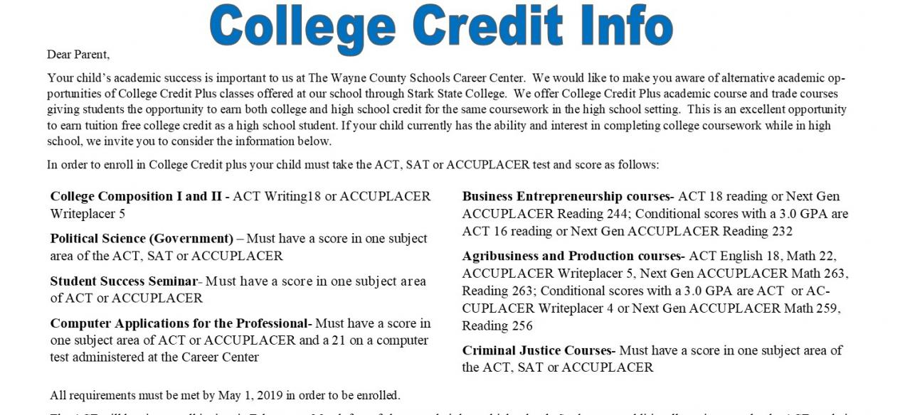 College Credit Info